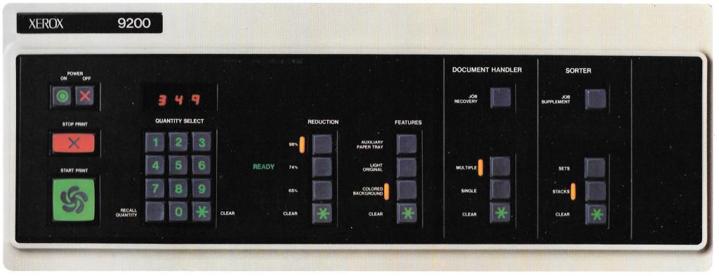 Xerox 9200 operating panel