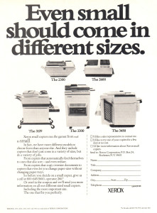 Ad for Xerox 2300, 2600, 3109, 3300 and 3450