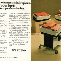 Xerox 3100, 3103, 3107 French advertisement from Rank Xerox
